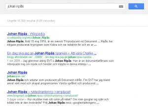 Antalet sökningar efter Johan Ripås har under de senaste dagarna nått nya höjder, Ripås du är Googlad!